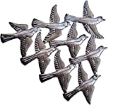 Spring Garden Flock of Birds Wall Art, Haiti Metal Art, Recycled Steel, Handmade 15.5' X 12.5'