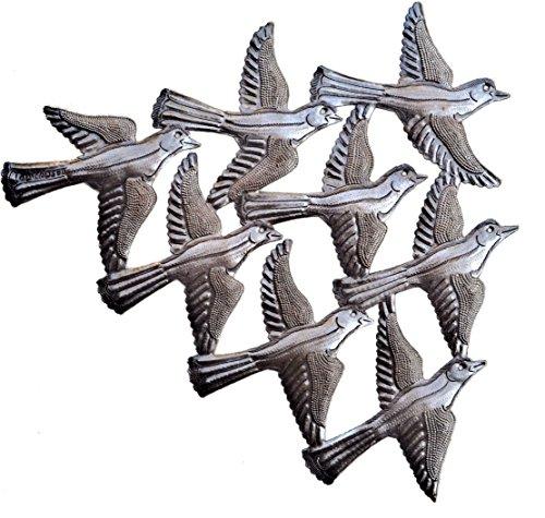 Spring Garden Flock of Birds Wall Art, Haiti Metal Art, Recycled Steel, Handmade 15.5