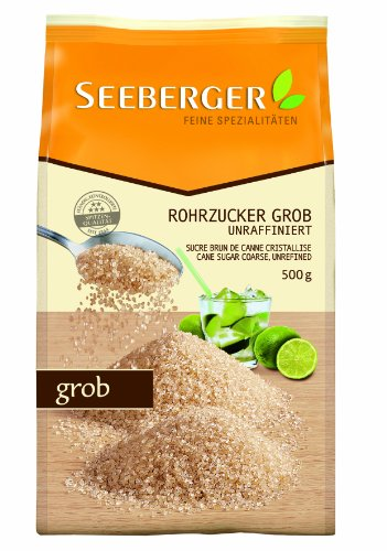 Seeberger Rohrzucker grob, unraffiniert,4er Pack (4 x 500 g Packung)