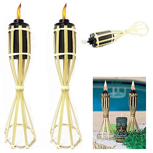 3 Bamboo Torch Tiki Tropical Decor Luau Party Garden Light