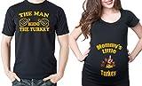 Thanksgiving Couple maternity Shirts Turkey Maternity Shirt Man behind the Turkey Men's T-shirt Pregnancy Shirt Men Large - Women Large