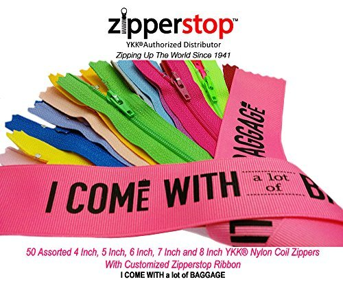 YKK- 50 Assorted 4 Inch, 5 Inch, 6 Inch, 7 Inch and 8 Inch Nylon Coil Zippers YKK #3 Skirt & Dress Zippers Closed Bottom Made in USA with Customized Zipperstop Ribbon - Crafter's Special
