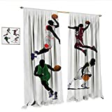 Best Div X Players - Sports Waterproof Window Curtain Basketball Players Dribbling Dunking Review