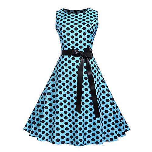Night Lady DressBeautiful Honor Cocktail Women dot Collo Hepburn Bow Deelin Temperament Sleeveless Blue O Party Polka MLqSUVGzp