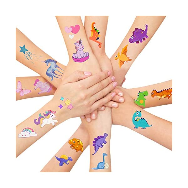 LITTLE SIENA Dinosaur Unicorn Temporary Tattoos for Kids Boys Girls Children   Birthday Decorations, Party Favors, Party Supplies - 12 Sheets 3