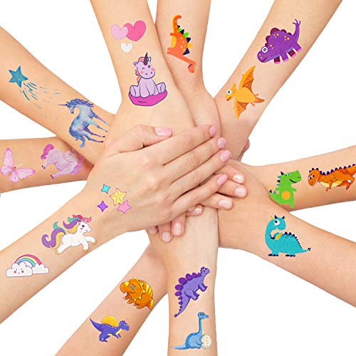 LITTLE SIENA Dinosaur Unicorn Temporary Tattoos for Kids Boys Girls Children | Birthday Decorations, Party Favors, Party Supplies - 12 Sheets]()