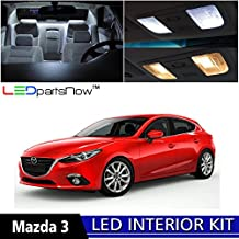 LEDpartsNOW MAZDA 3 2014 Xenon White Premium LED Interior Lights Package Kit (6 Pieces) + TOOL