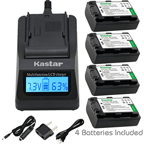 Kastar Fast Charger + Battery (4-Pack) for Sony NP-FH50, NP-FH40, NP-FH30 & DSLR-A230, DSLR-A330, DSLR-A290, DSLR-A380, DSLR-A390, HDR-TG1E, HDR-TG3, HDR-TG5, HDR-TG7, DSC-HX1, DSC-HX200,DSC-HX100V