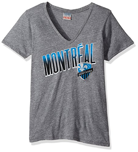 - Junk Food MLS Montreal Impact Women's Short Sleeve V-Neck Top, Small, Steel