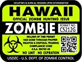 "ProSticker 1221 (TWO pack) 3""x 4"" Zombie Series ""Hawaii"" Hunting License Permit Decal Sticker"