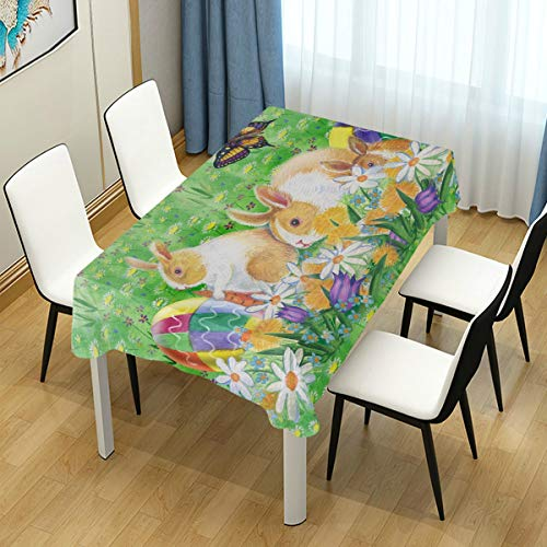 Naanle Easter Bunny Rabbit Spring Floral Butterfly Rectangle Tablecloth 60