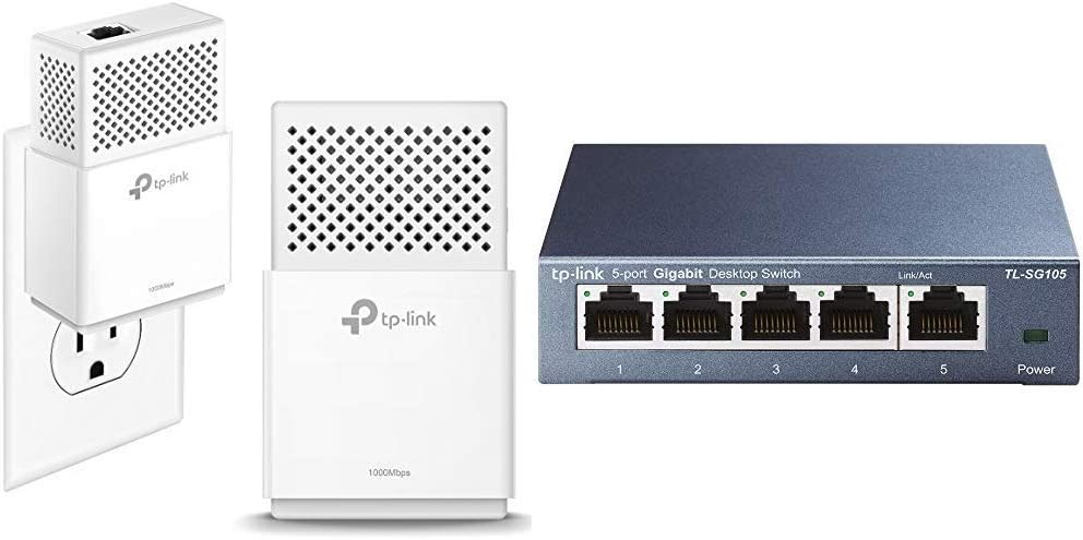 TP-Link AV1000 Powerline Ethernet Adapter - Gigabit Port, Plug&Play, Power Saving(TL-PA7010 KIT) & 5 Port Gigabit Ethernet Network Switch (TL-SG105)