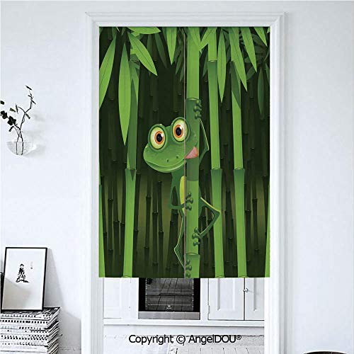 AngelDOU Animal Decor Door Curtains Home Decor Modern Valances Funny Illustration of Friendly Fun Frog on Stem of The Bamboo Jungle Trees Cute Nature Print Room Divider for Bedroom K 33.5x59 inches
