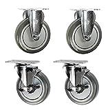 5'' Stainless Steel Casters - 2 Swivel w/ Brakes 2 Rigid - Polyurethane Wheel- Non-marking Set of 4