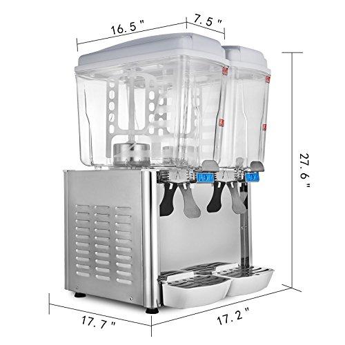 Cueffer 36L Dispensador de Bebida 2X18L Dispensador para Jugo Caliente y Frío Dispensador para Bebidas Comerciales con 2 Tanques 250W Dispensador de Jugo ...