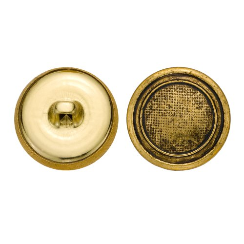 C&C Metal Products 5325 Embossed with Rim Metal Button, Size 33 Ligne, Antique Gold, 36-Pack