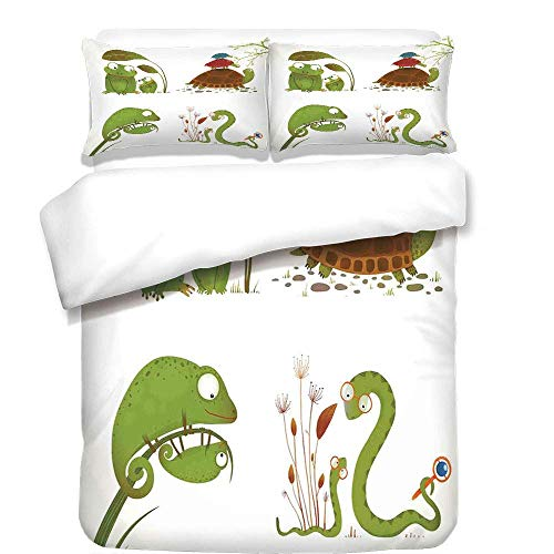 VAMIX 3Pcs Duvet Cover Set,Reptiles,Reptile Family with Colorful Baby Collection Snake Frog Ninja Turtles Love Mother,Green Brown Red,Best Bedding Gifts for - Sheets Turtle Ninja Queen
