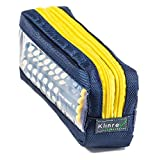 Double Sided Pencil Case with Peek Windows. PeeKcase (Navy - yellow zipper)