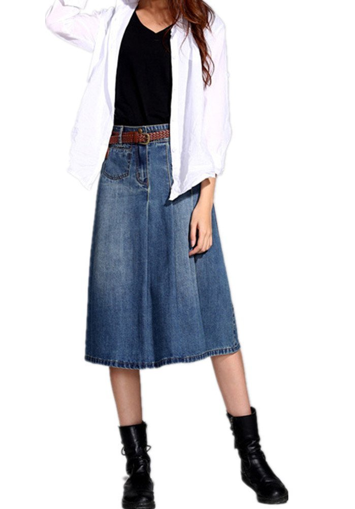 Skirt BL Women's Vintage Casual Plus Size Blue Long A Line Midi Denim Jean Skirt