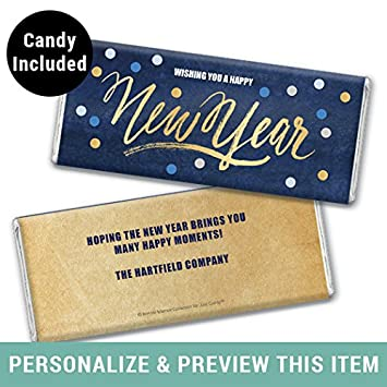 personalized new years eve party candy hersheys chocolate bar wrapper 36