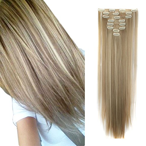 26 inches Full Head Clip in Extensions 8 Piece 18 Clips Long Soft Silky Straight and Curly for Women Fashion(Ash Blonde Mix Bleach Blonde/Sandy Blonde Mix Bleach Blonde)