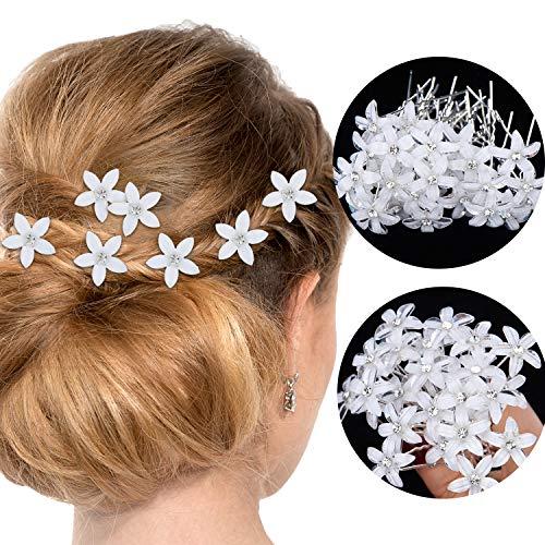 Flowers Hair Wedding - 60 Pieces Bridal Wedding Hair Pins Rhinestone Flower Hair Clips Crystal U-shaped Hair Pins for Women Girls, Wedding Party Favors
