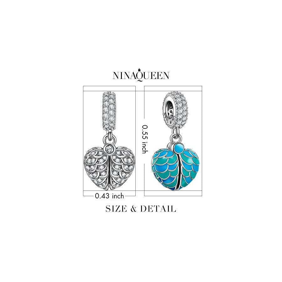 NINAQUEEN Surprising Gifts 925 Sterling Silver Heart Dangle Charms Beads with AAAAA Cubic Zirconias ♥Fit for Bracelet & Necklace♥
