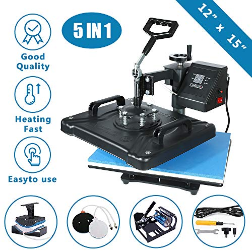 SURPCOS 5 in 1 Heat Press Machine 12'x 15' inch Professional Digital Transfer Sublimation Swing-Away for Hat Mug Plate Cap T-Shirt (12'x 15' (5 in 1) Swing Away)