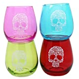 TMD Holdings Flower Candy Skull Stemless Wine Glass (Set of 4), Multicolored For Sale