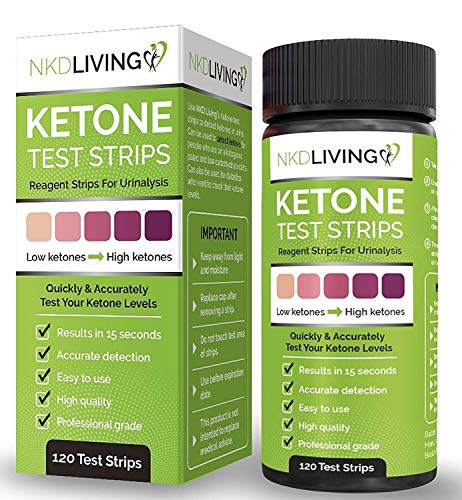 Ketone Test Strips by NKD Living (120 Strips in 2 x 60 Keep Fresh Packs) Accurately Detect and Measure Your State of…