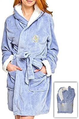 Adrienne Vittadini Women's Plush 2-Tone Hooded Sherpa Lined Bath Robe | Knee Length