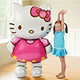 CharmTM My Size 3 foot 9 inch 116*65cm Large Size Hello Kitty Cat Foil Balloons Cartoon Birthday Decoration Wedding Party Inflatable Air Balloon