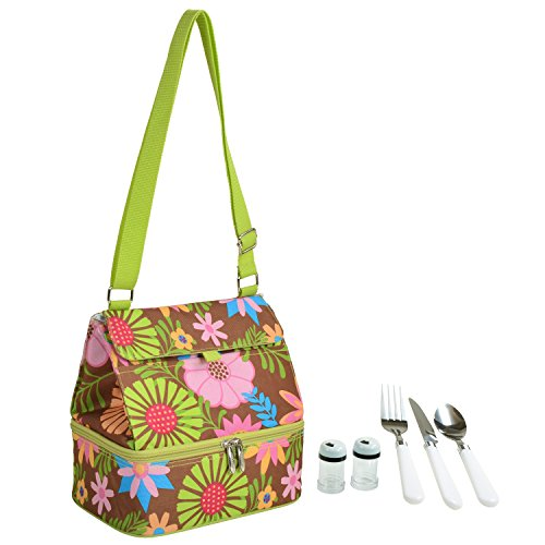 Picnic at Ascot Fashion Insulated Lunch Bag With Service For One, Floral - Canvas Floral Basket