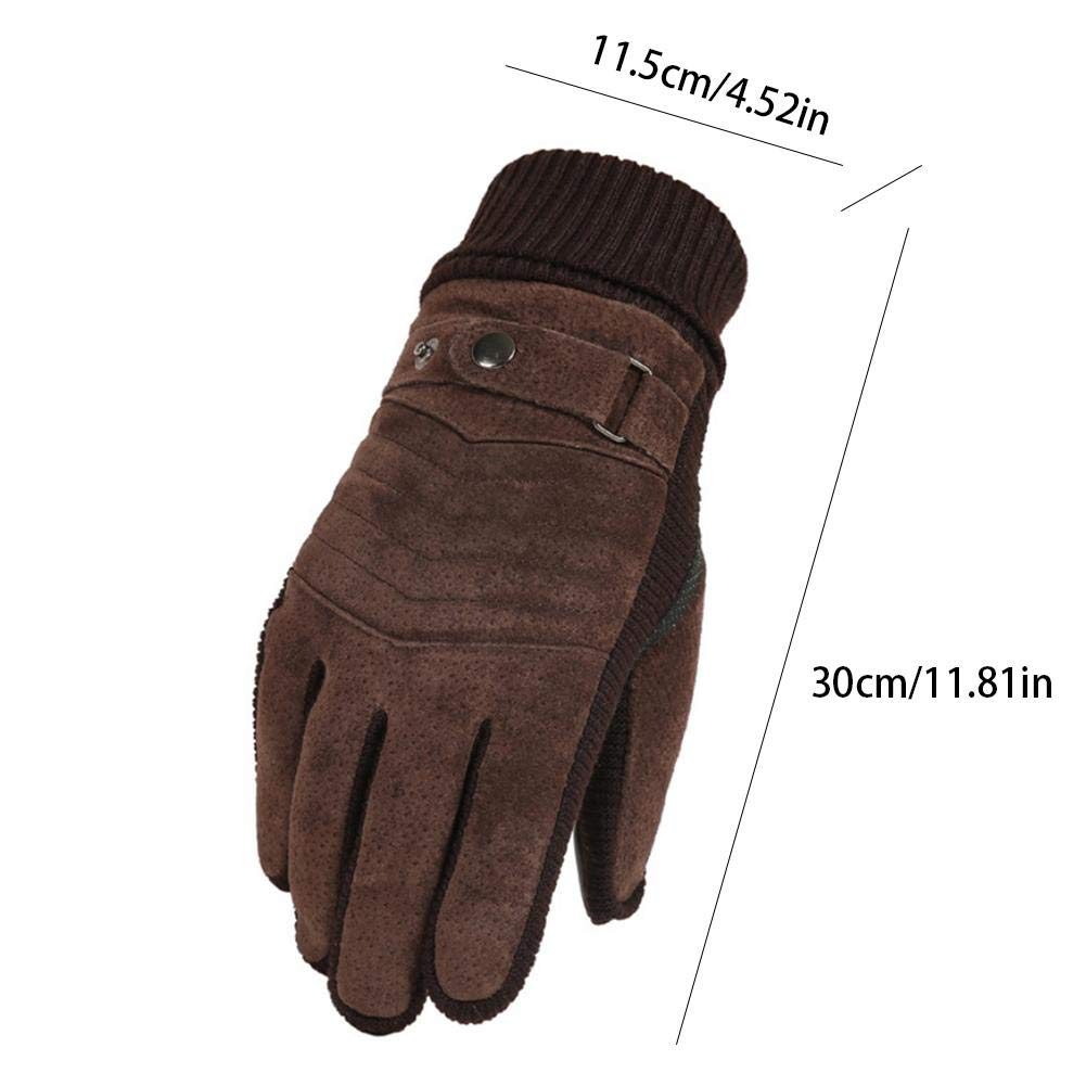 COREYCHEN Gloves Mens Winter Thickening Plus Velvet Warm Riding Motorcycle Mens Cold-Proof Touch Screen Leather Gloves
