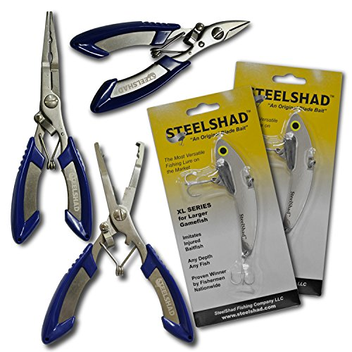 SteelShad Steel Shad – Fishing Tools – Multi-Pack – Plus 2 Free Fishing Lures – Silver Color