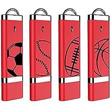 [Patrocinado] 4X mosDART 16GB USB2.0 Cool Sports Range Flash Drive Bulk Thumb Drives Memory Sticks Jump Drive Zip Drive with Led Indicator,Red(16GB,4pack )