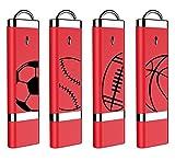 football thumb drive - 4X mosDART 16GB USB2.0 Cool Sports Range Flash Drive Bulk Thumb Drives Memory Sticks Jump Drive Zip Drive with Led Indicator,Red(16GB,4pack )