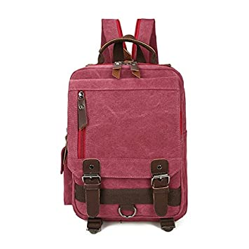 ZOUQILAI Mochila de lona Estudiante universitario Mochila Bolsa de mensajero para mujer Ocio Bolsa de viaje Cuatro opciones de color (Color : Rosa roja): ...