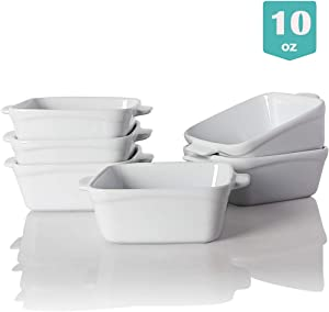 SWEEJAR Ceramic Souffle Dishes,Square Double Handle Ramekins for Baking, 10 OZ for Creme Brulee, Custard,Dipping - Set of 6