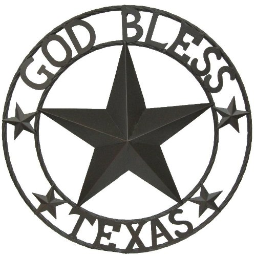 LL Home Metal Circled Star with Sayings God Bless Texas