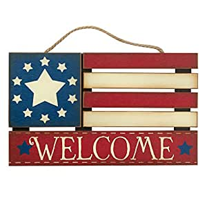 American flag welcome wood sign fourth of july for Patriotic welcome home decorations