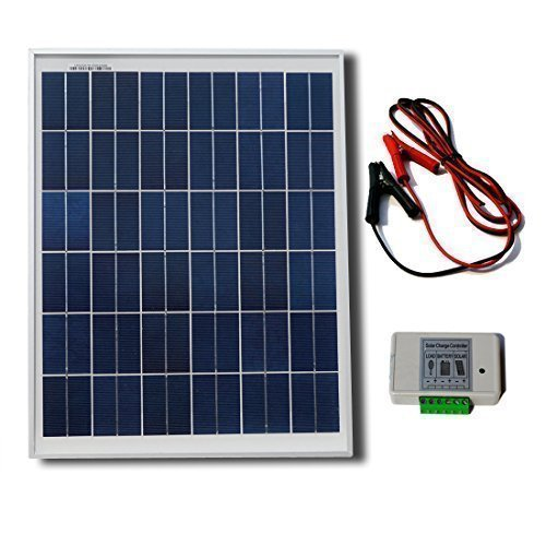 - ECO-WORTHY 20W 12V Solar Panel Kit: 20 Watt Polycrystalline Solar Panel & Battery Clips & 3A Charge Controller