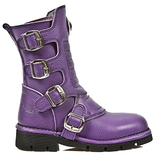 M.1471-s7 New Rock Ladies Purple Leather Gothic/Punk Calf Length Boots with Adjustable Buckles