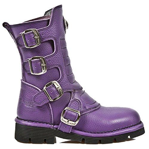 M.1471-s7 Nuove scarpe da donna in stile viola con stivalino regolabile in lattice gotico / punk