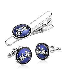 Gnzoe Stainless Steel Bike Bicycle Cycling Cufflinks Tie Bar Presentation Gift Box