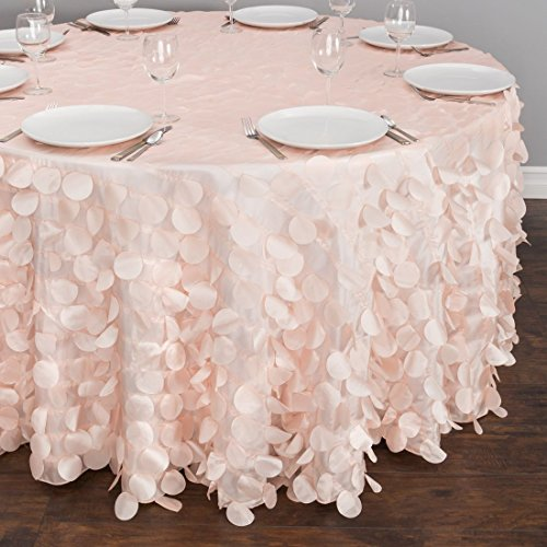 118 in. Round Petal Tablecloth Blush Pink -