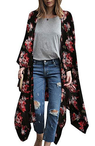 - Relipop Women's Sheer Chiffon Blouse Loose Tops Kimono Floral Print Cardigan (X-Large, F07)