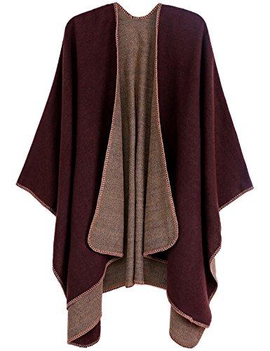 ADOMI Womens Winter Elegant Reversible Oversized Blanket Poncho Cape Shawl Cardigans Coffee