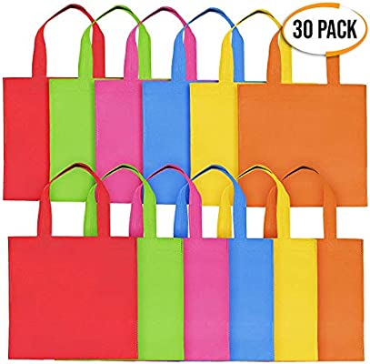 THE TWIDDLERS 30 Pack Bolsas No Tejidas con Asas para Niños - Bolsa De Cumpleaños Colores Variados Bolsos De Dulces Juguetes Caramelos - Artículos ...