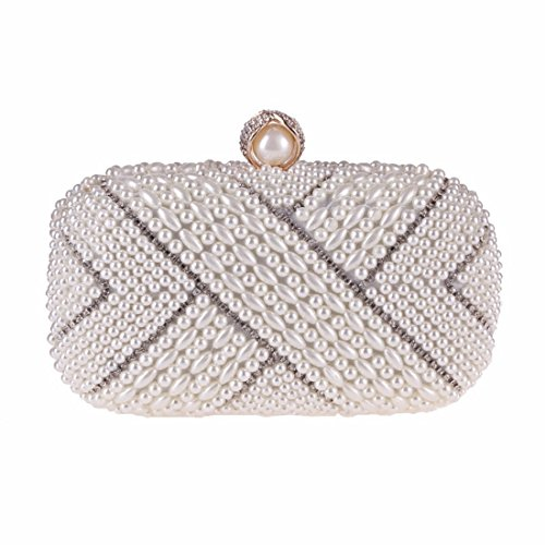 Women's White Bag Champagne Small Bag Square KERVINFENDRIYUN Color Evening Handbag Fashion Pearl RxqxwCFt
